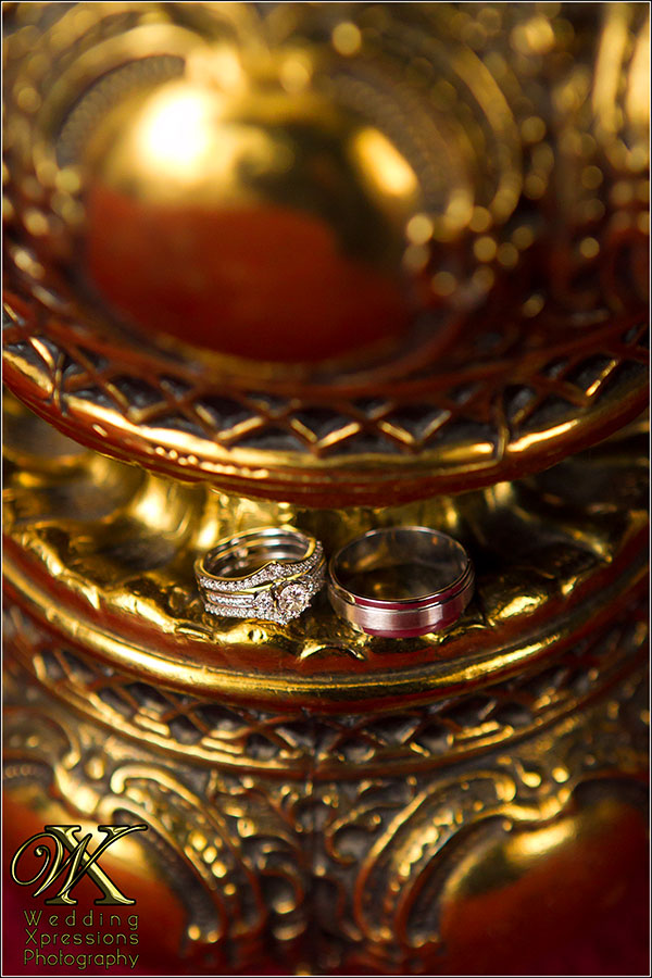 Wedding ring on gold