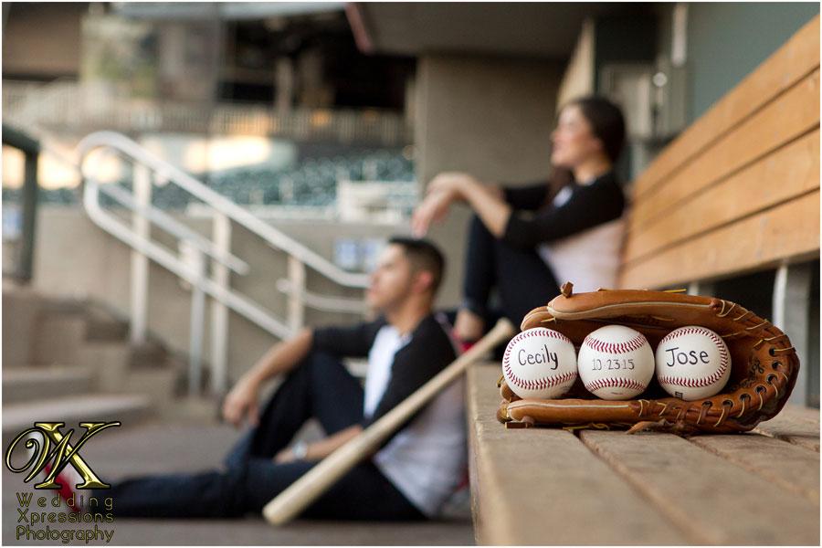 baseball themed engagement session