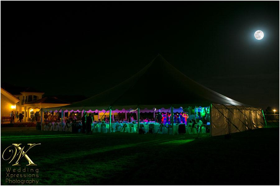 Moon over backyard wedding