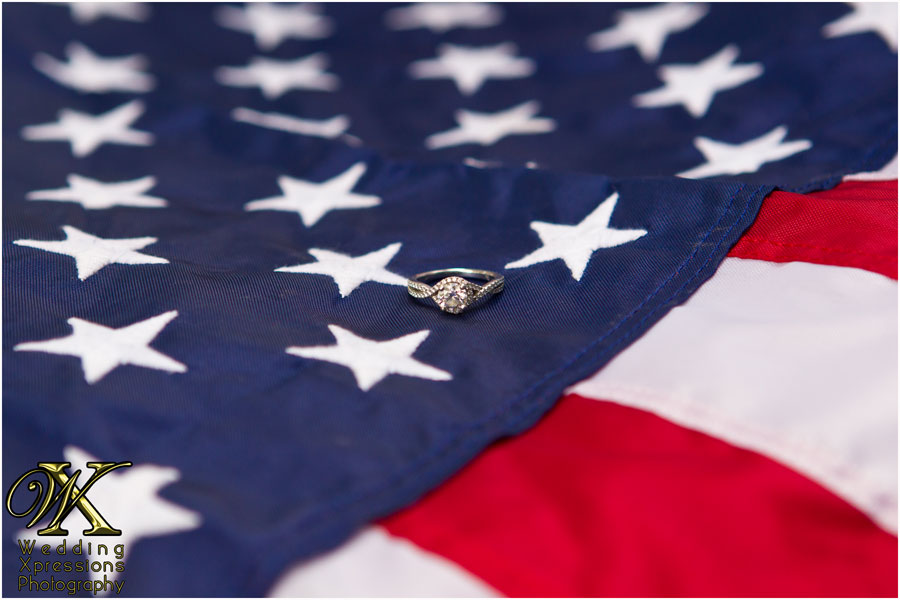 engagement ring on american flag