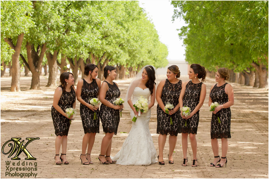 bride with her bridesmaids on wedding day