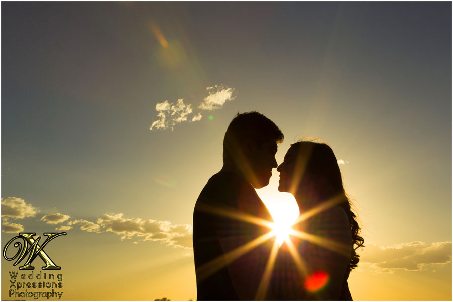 sunset during engagement session