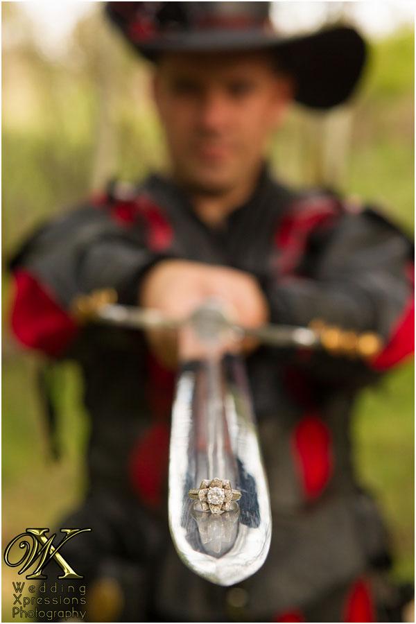renaissance engagement ring on sword