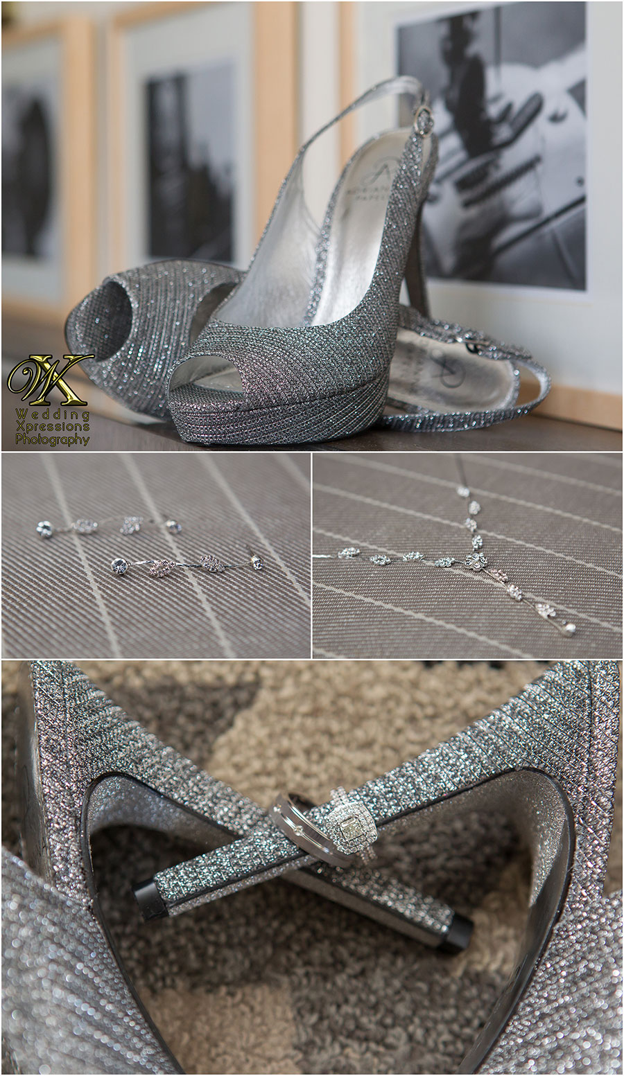silver wedding bridal shoes