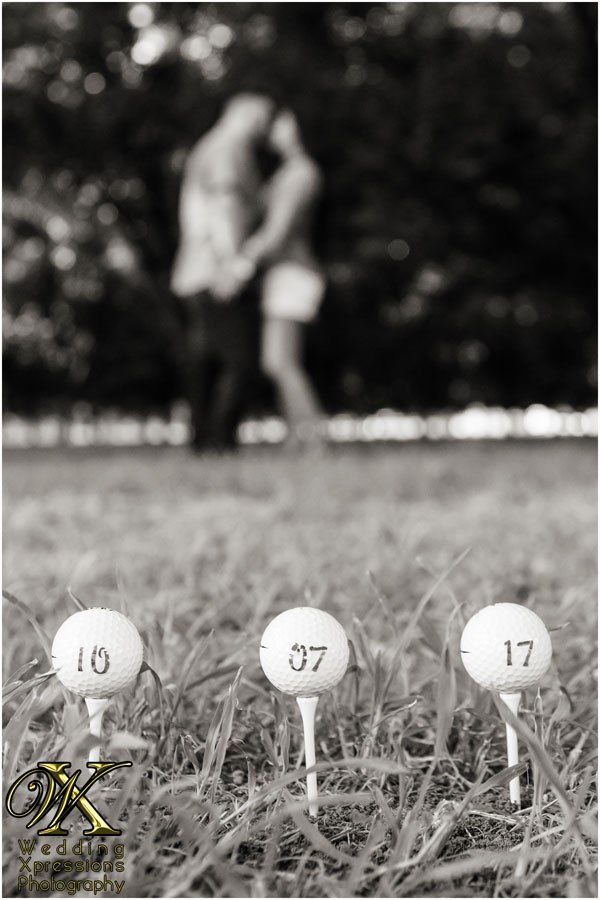 save the date with golf balls