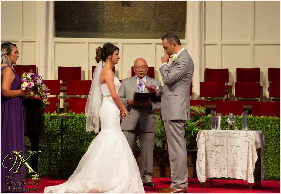 groom gets emotional during wedding ceremony