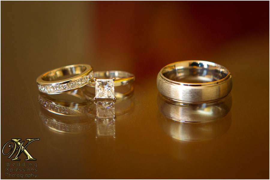 wedding rings with reflection