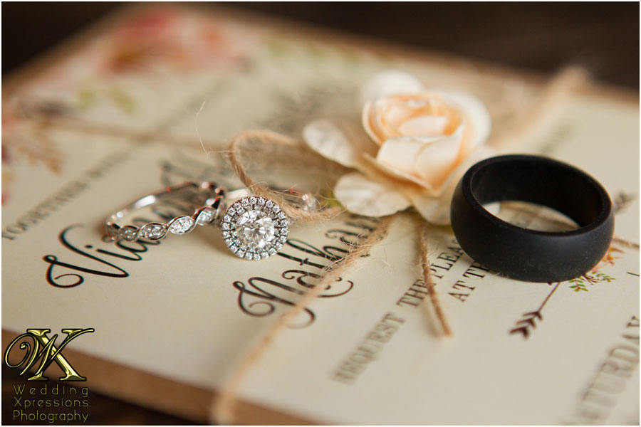 bride wedding ring, invitation, and groom rubber ring