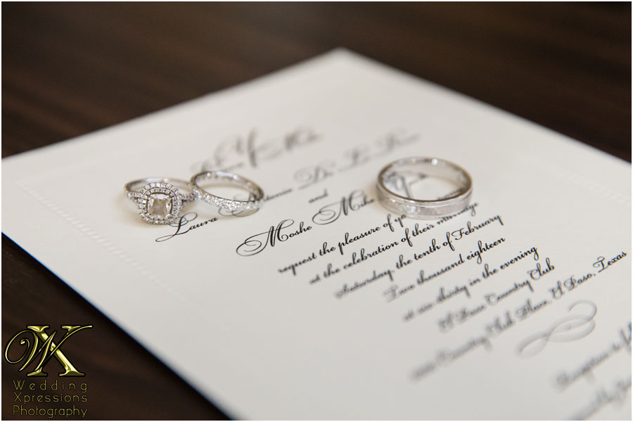 Mike & Laura's wedding invitation with rings