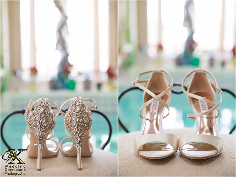 brides wedding shoes near pool