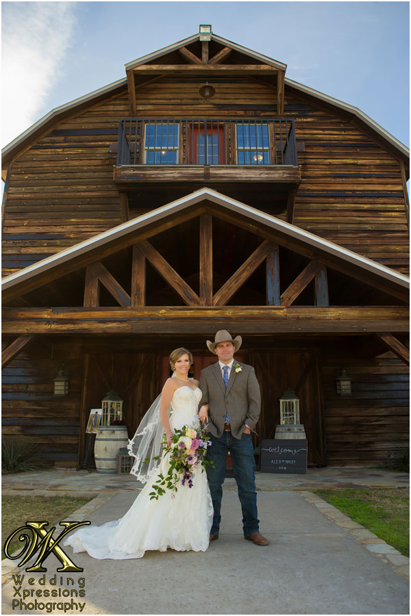 wedding couple in front of Thistle Springs Ranch