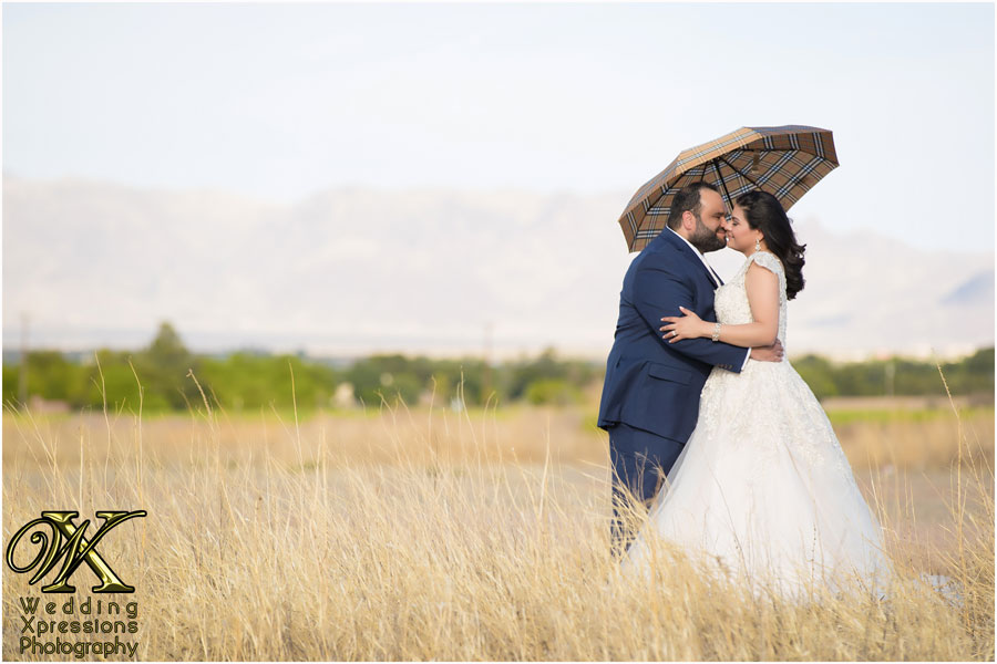 bride and groom with Louis Vuitton umbrella