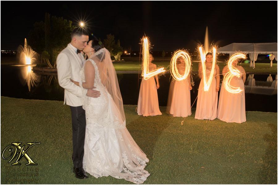 sparklers love sign at Grace Gardens