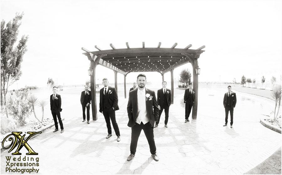 groomsmen on wedding day at Grace Gardens