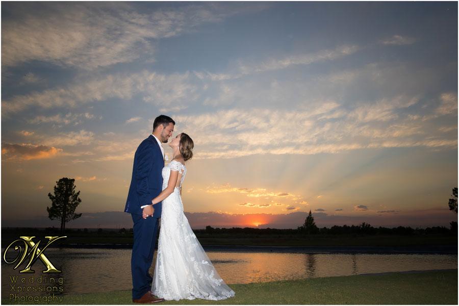 wedding couple at Grace Gardens lake