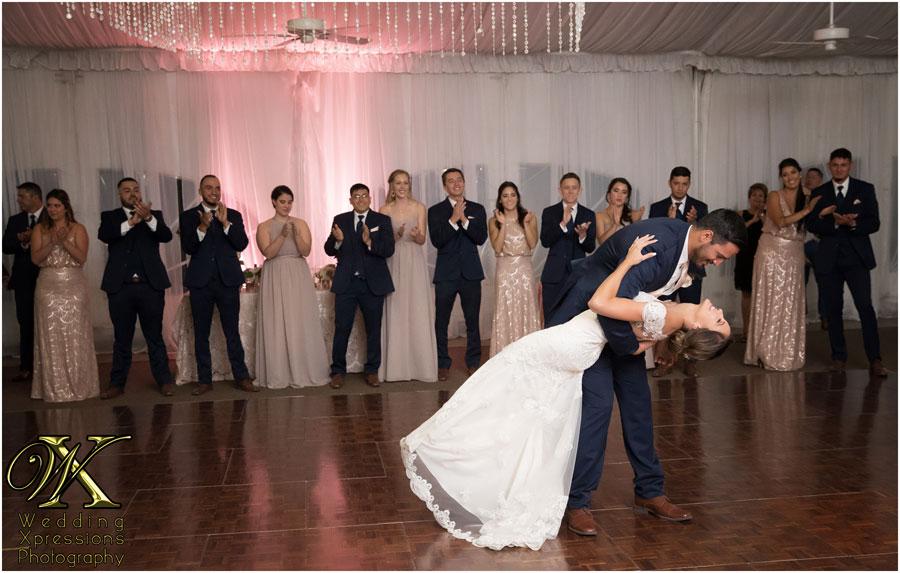 wedding first dance dip at Grace Gardens in El Paso
