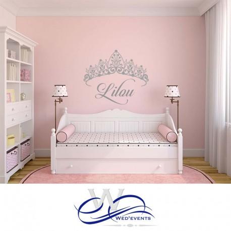 stickers muraux personnalises couronne princesse