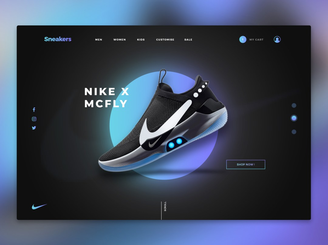 Website design concept Sneakers Nike WeDezign