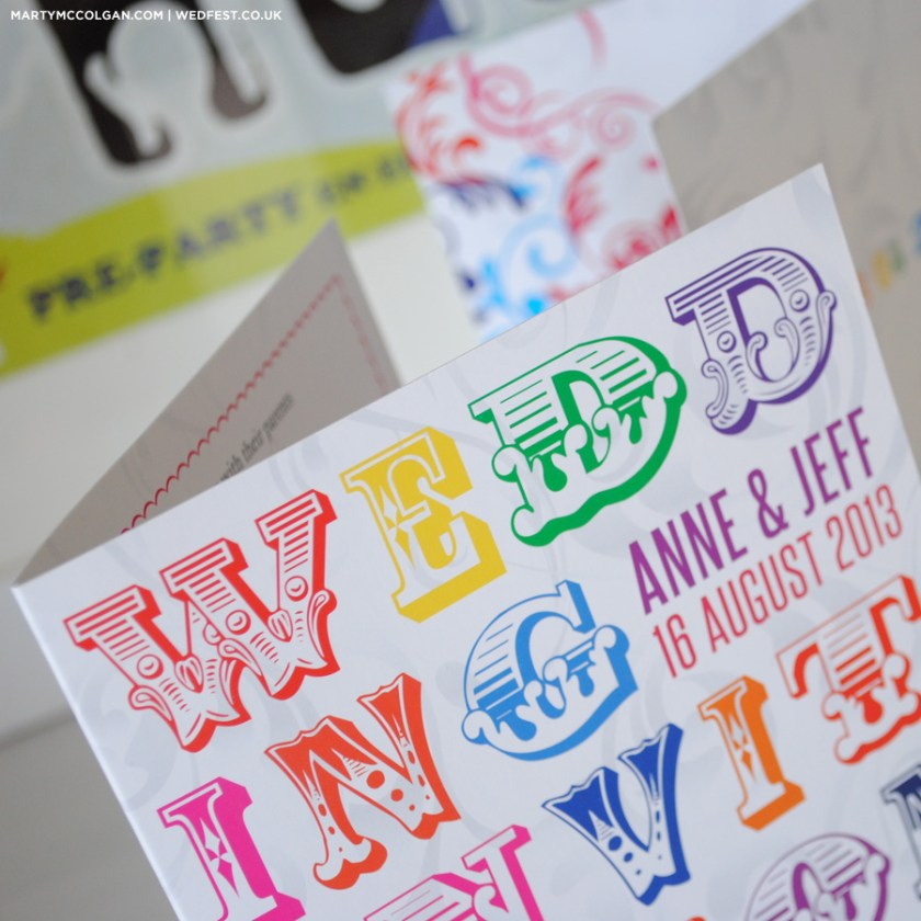 Multi Colour Typography Wedding Invites