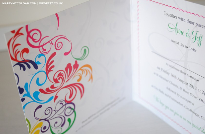 Rainbow Double Hearts Wedding Invitation Card Design