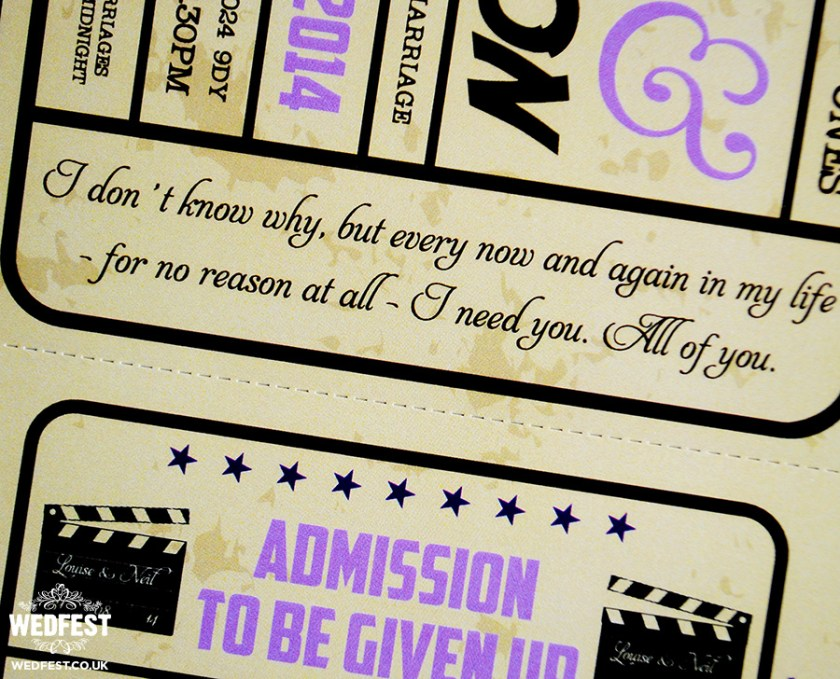Cinema Tickets Wedding Invites