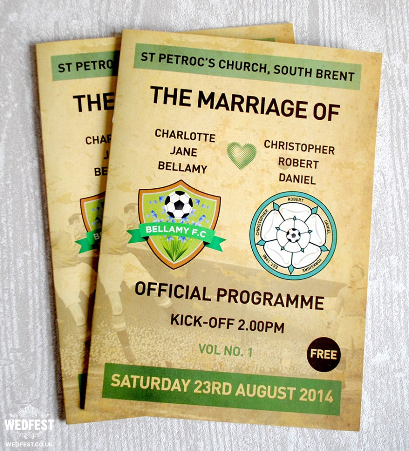 Football Programme Wedding Order Of Service M Booklet