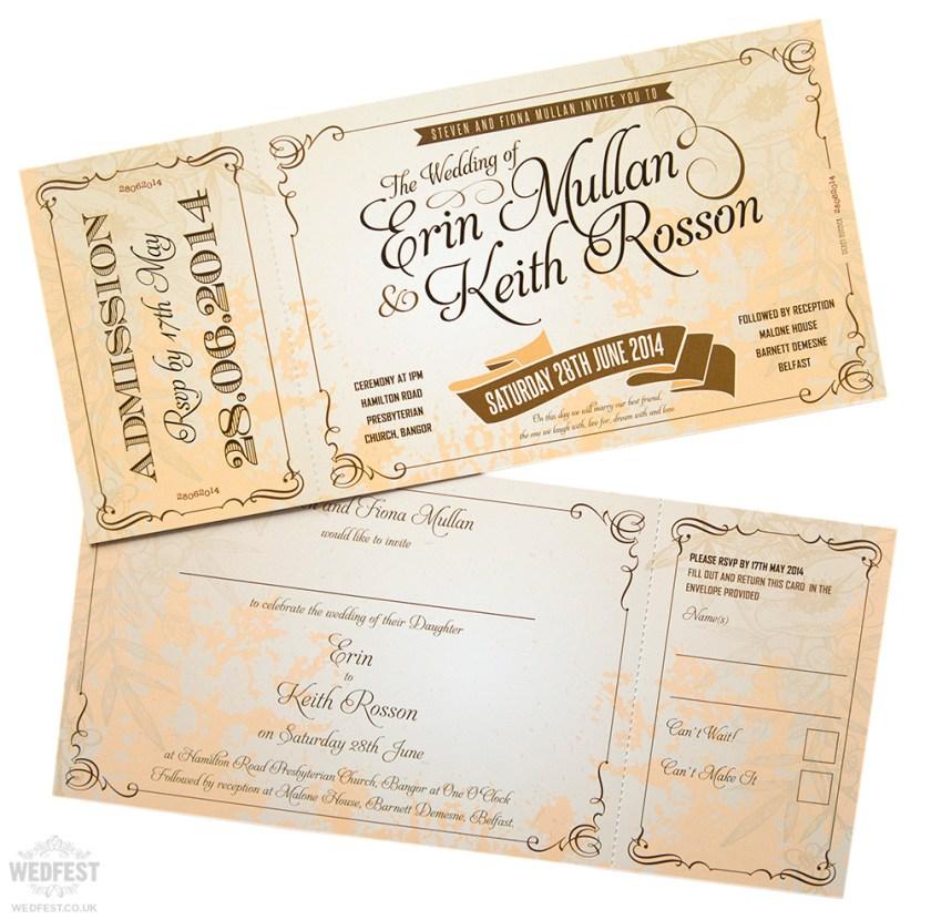 Vine Ticket Style Wedding Invites