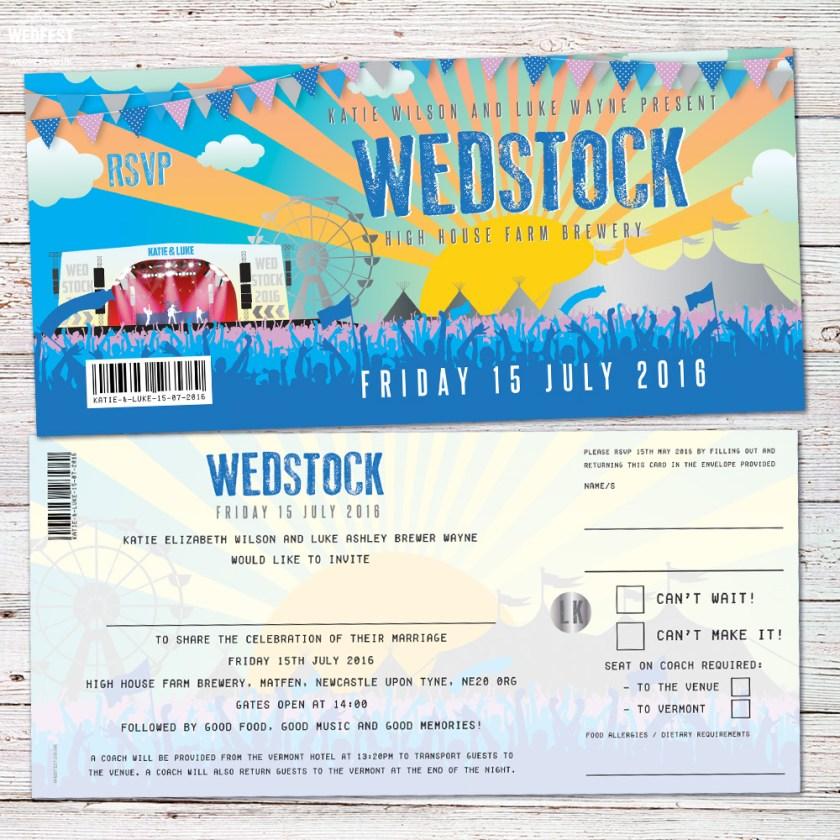 Wedstock Wedfest Festival Wedding Invitations