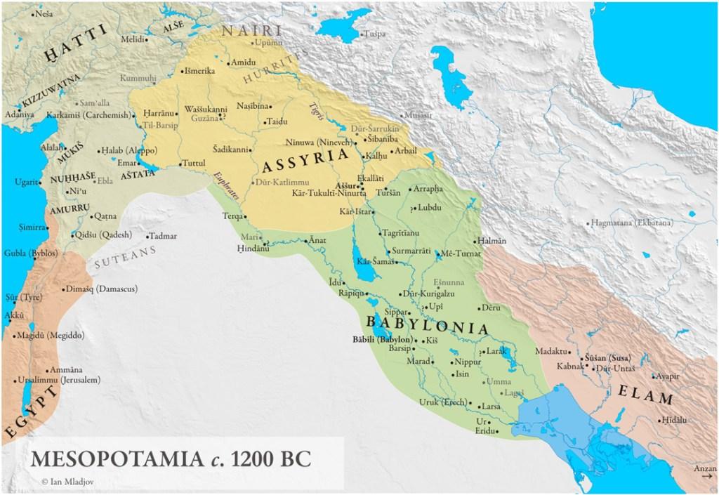 map of Mesopotamia around 1200 BC