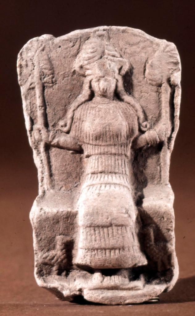 terracotta plaque with a seated goddess