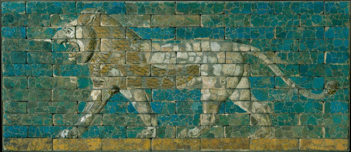 Glazed-brick panel, 7th cent BCE (MET 31.13.1)