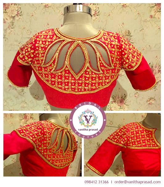 lotus pattern in boat neck bridal blouse