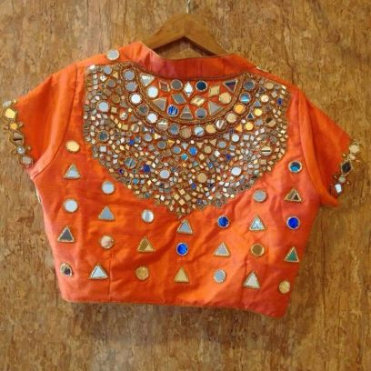 Boat Neck Blouse Designs Orange