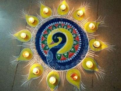 diwali rangoli designs with lights