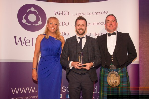 Brian Hay Smith of Mazars (RHS) with Andrew Dobbie of MadeBrave, Entrepreneur of the Year winner 2015 & WeDO Scotland Founder Belinda Roberts