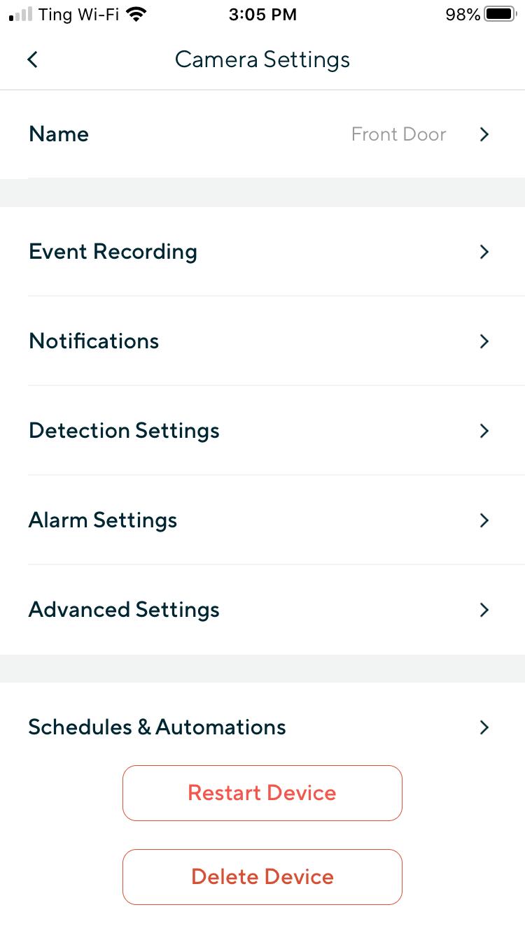 Wyze App Settings