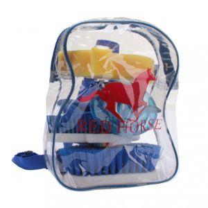 red horse poetssetje in rugtas blauw