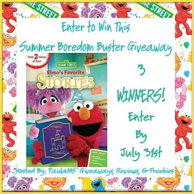 3 #WIN Elmo's Favorite Stories DVD in this Summer Boredom Buster #Giveaway on 7/31 #Elmo #WBHE #SesameStreet