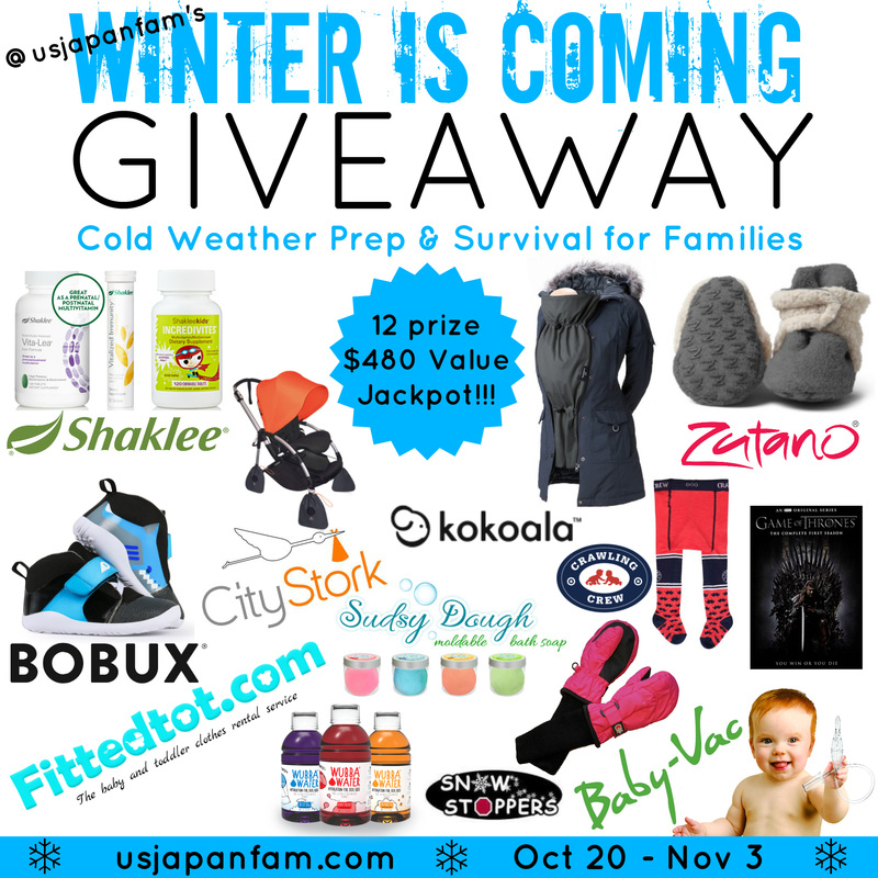 US Japan Fam's Winter is Coming Giveaway - $480 jackpot with prizes to help families prepare for and survive winter!