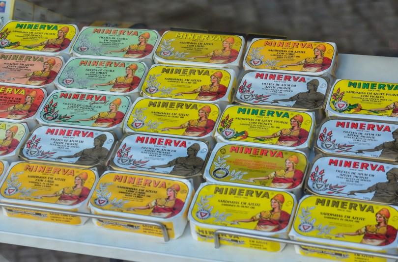 Boites de sardines et autres poissons de la marque Minerva - Emballage retro et vintage - Portugal
