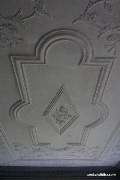 The Withdrawing Rooms's hand-formed plaster ceiling, a rare 18th-century example. Believed to be best/oldest example in N. America