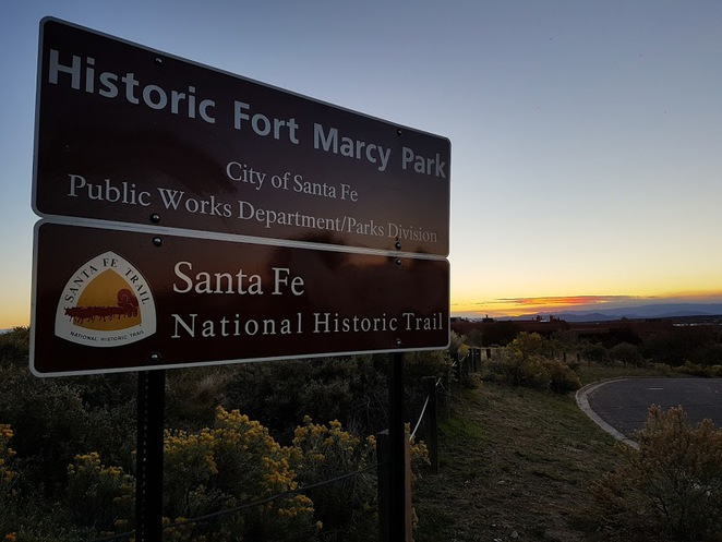 santa fe, fort marcy, cross of the martyrs, sunset in santa fe, new mexico sunsets, walking in santa fe, historic sights in santa fe, memorials in santa fe