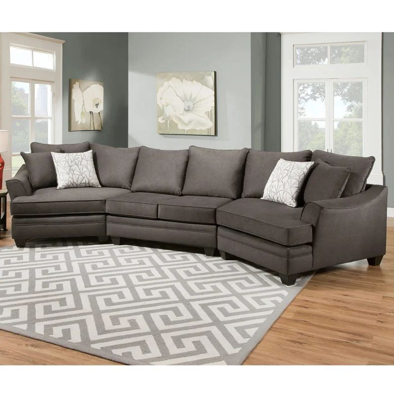 savvy 3 piece gray double cuddler sectional