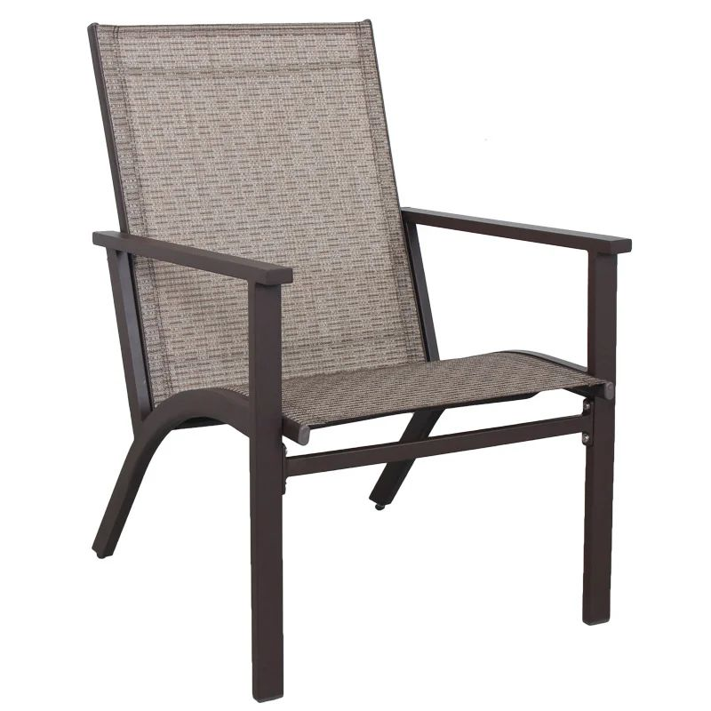 mix and match patio rugby stackable sling chair brown