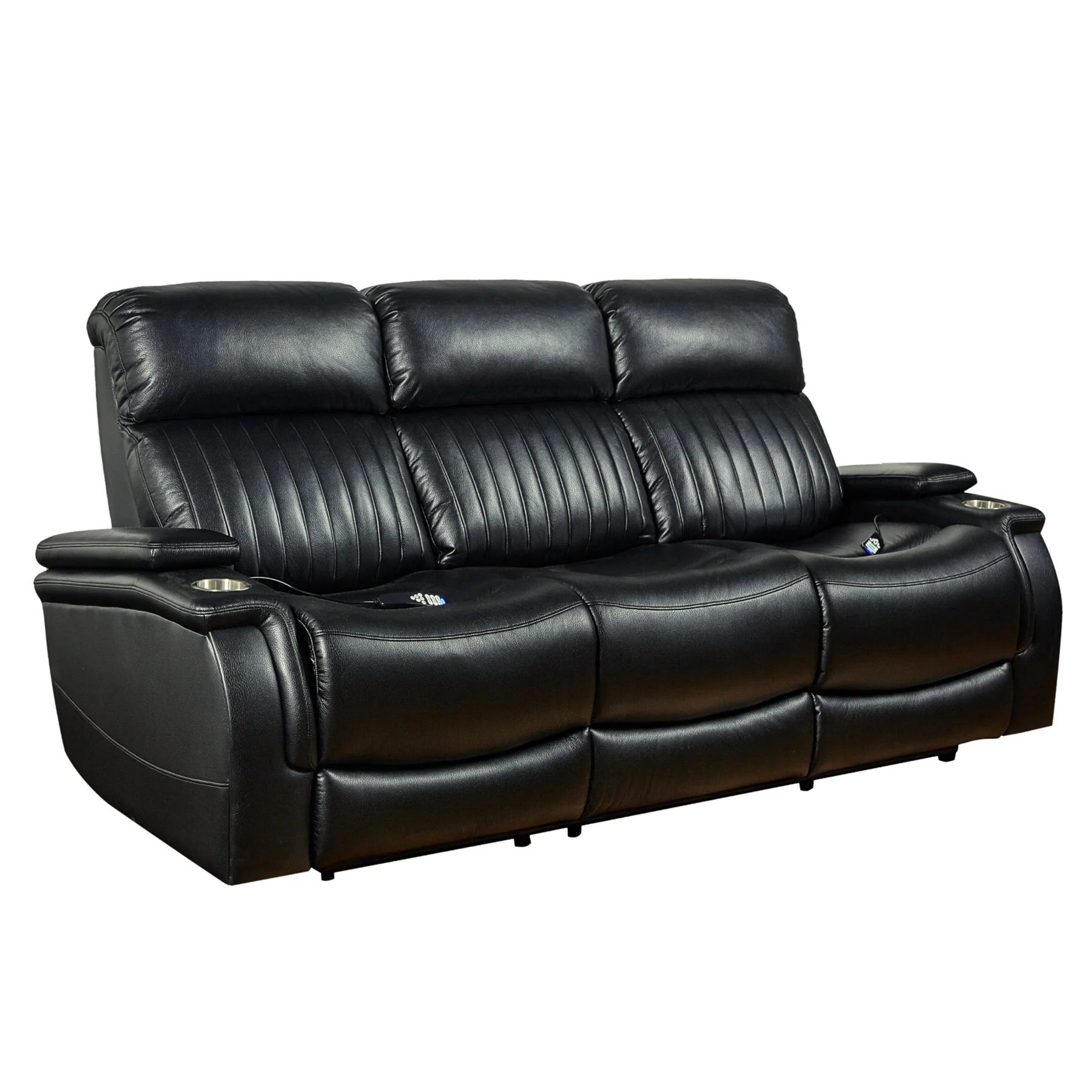 deco black modern triple power reclining sofa with heat and massage