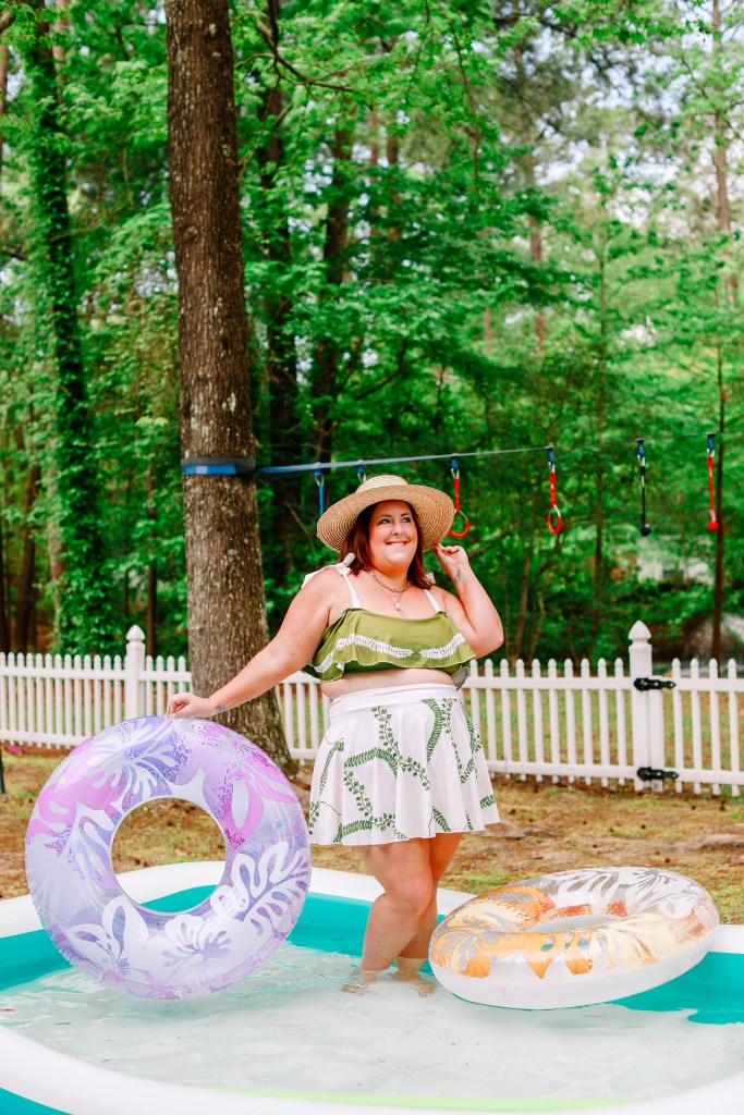 Tiffany in a green Shein two piece swimsuit with skirt coverup