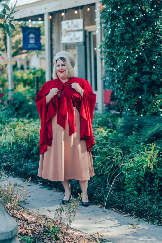 Festive Capes for holiday - Tiffany in a red cape with bow