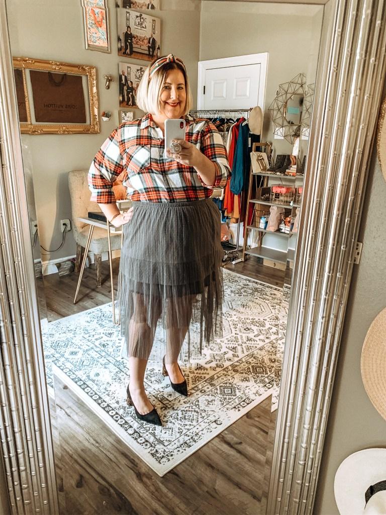 plaid top with gray tutu skirt