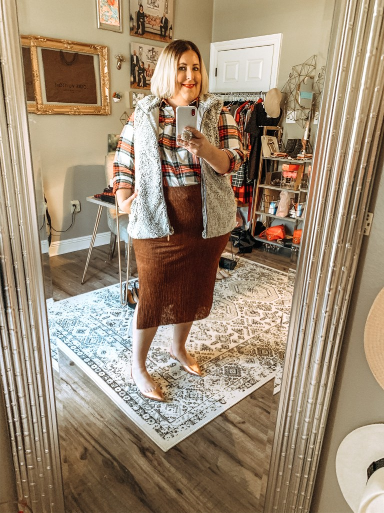 Plaid top with brown skirt