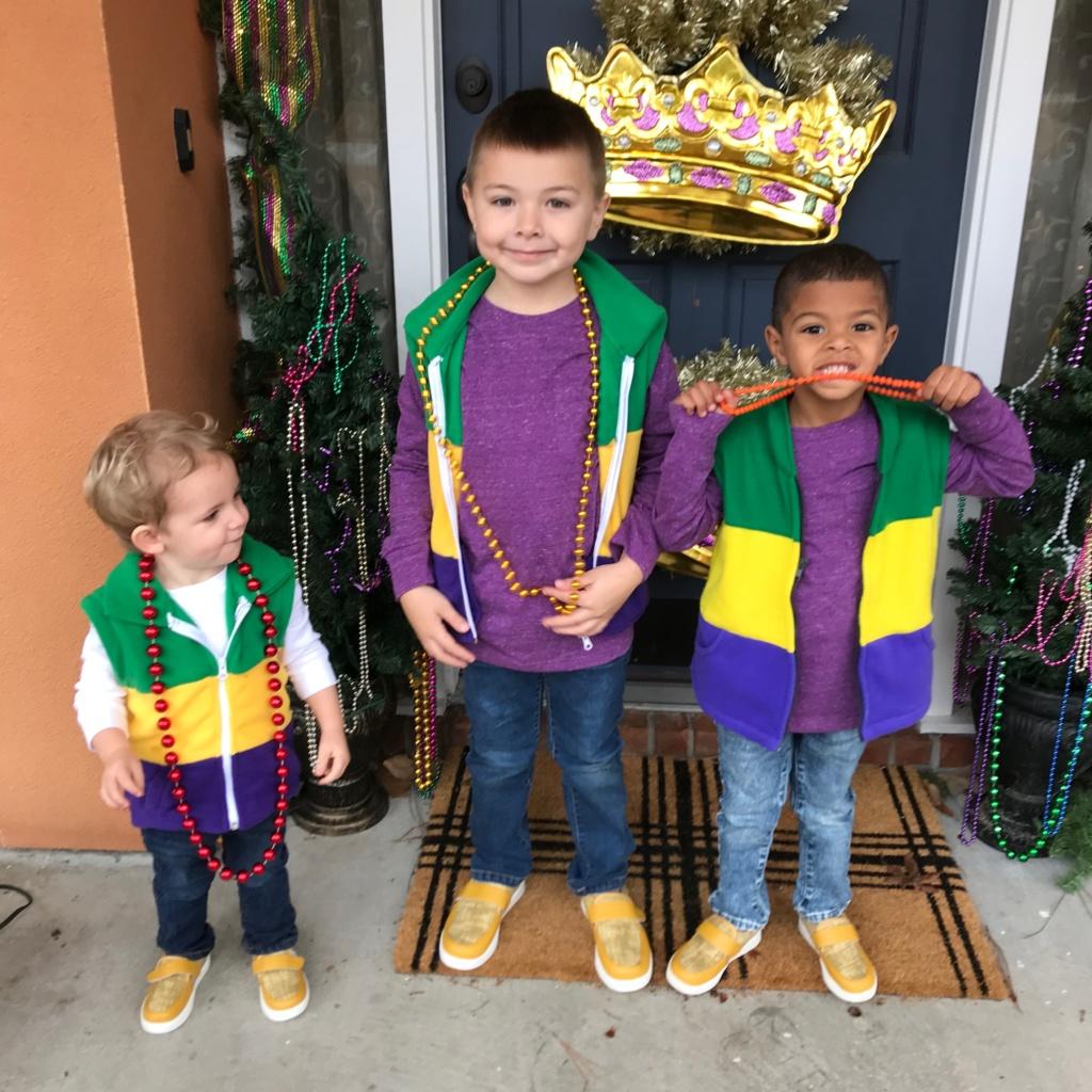 Boys in Fleece Mardi Gras Vests from ETSY